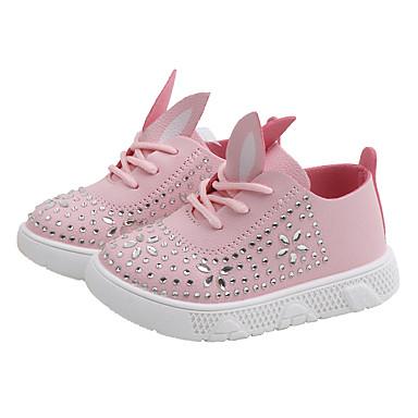 baratos Sapatos de Criança-Para Meninas Couro Ecológico Tênis Little Kids (4-7 anos) / Big Kids (7 anos +) Conforto Miçangas Branco / Rosa claro / Bege Outono