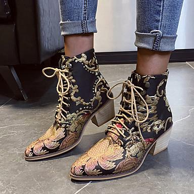 voordelige Dameslaarzen-Dames Laarzen Blokhak Gepuntte Teen Satijnen bloem Satijn Kuitlaarzen Vintage / Chinoiserie Lente / Herfst winter Zwart en Gold