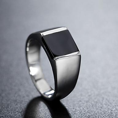 voordelige Herensieraden-Heren Bandring Ring 1pc Zilver Titanium Staal Cirkelvormig Vintage Standaard Modieus Dagelijks Sieraden