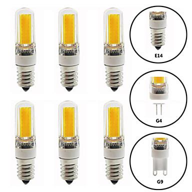 abordables Ampoules électriques-6pcs 6 W LED à Double Broches 600 lm E14 G9 G4 T 1 Perles LED COB Intensité Réglable Design nouveau Blanc Chaud Blanc 220-240 V 110-120 V