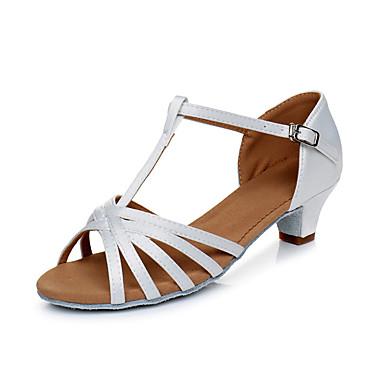 baratos Shall We® Sapatos de Dança-Mulheres Cetim Sapatos de Dança Latina Salto Salto Grosso Personalizável Preto / Branco / Dourado