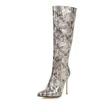 voordelige Dameslaarzen-Dames Laarzen Naaldhak Gepuntte Teen PU / Elastische stof Kuitlaarzen Klassiek / minimalisme Lente / Herfst winter Zwart / Luipaard / Wit