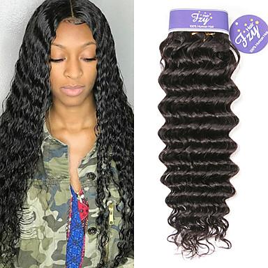 baratos Extensões de Cabelo Natural-3 pacotes Cabelo Peruviano Deep Curly Cabelo Natural Remy 100% Remy Hair Weave Bundles Cabelo Humano Ondulado Extensor Cabelo Bundle 8-28 polegada Natural Tramas de cabelo humano S. Valentim Presente