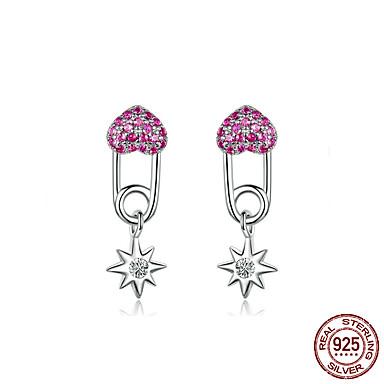voordelige Dames Sieraden-hart pin oorbellen voor vrouwen 925 sterling zilver volledige pave cz star drop earring vrouwelijke Koreaanse sieraden accessoires bse115