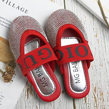 baratos Sapatos de Criança-Para Meninas Couro Ecológico Chinelos e flip-flops Little Kids (4-7 anos) Chanel Pedrarias Preto / Vermelho Primavera