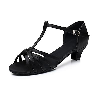 baratos Shall We® Sapatos de Dança-Mulheres Sapatos de Dança Cetim Sapatos de Dança Latina Salto Salto Grosso Personalizável Preto / Branco / Dourado / Espetáculo / Couro