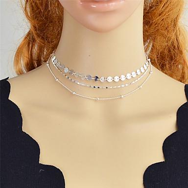 billige Mote Halskjede-Dame Choker Halskjede Multi Layer Koreansk Søt Mote Chrome Gull Sølv 34 cm Halskjeder Smykker 3pcs Til Gave Daglig Arbeid