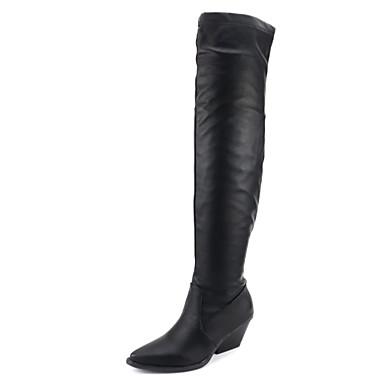voordelige Dameslaarzen-Dames Laarzen Sleehak Gepuntte Teen Imitatieleer Over de knie laarzen Klassiek / minimalisme Lente & Herfst / Herfst winter Zwart / Wit
