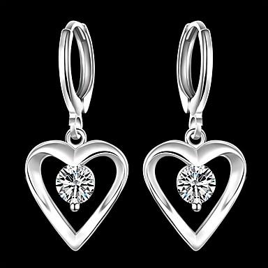 hesapli Moda Küpeler-Kadın's Kübik Zirconia Damla Küpeler Klasik Kalp Şık Gümüş Kaplama Küpeler Mücevher Gümüş Uyumluluk Parti Günlük 1 çift