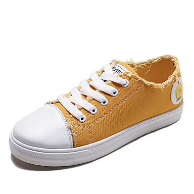 Kadın's Spor Ayakkabısı Düz Taban Yuvarlak Uçlu Kanvas Günlük İlkbahar & Kış Siyah / Beyaz / Sarı
