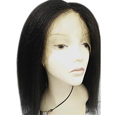 povoljno Perike i ekstenzije-Remy kosa Full Lace Perika Srednji dio stil Brazilska kosa Kinky Ravno Crna Perika 130% Gustoća kose Crna Žene Kratko Perike s ljudskom kosom beikashang