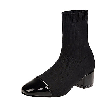 povoljno Ženske čizme-Žene Čizme Kockasta potpetica Trg Toe PU Čizme do pola lista minimalizam Jesen Crn / Badem