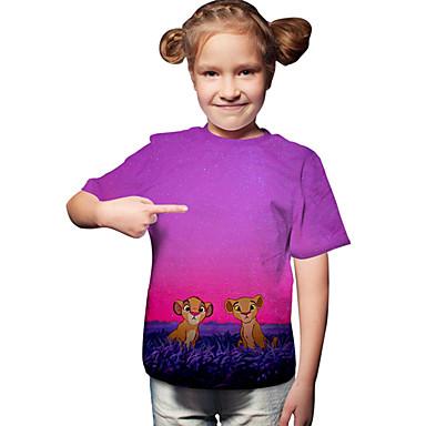 baratos Blusas para Meninas-Infantil Bébé Para Meninas Activo Básico Leão Geométrica Estampado Estampado Manga Curta Camiseta Fúcsia