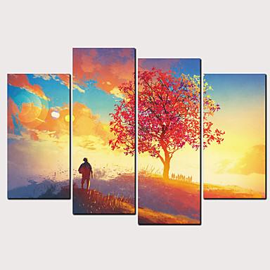 Boyama Haddelenmiş Kanvas Tablolar - Doğa ve Açık Hava Çiçek / Botanik Klasik Modern Dört Panelli Sanatsal Baskılar