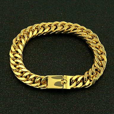 voordelige Herensieraden-Heren Armbanden met ketting en sluiting Cut Out Kostbaar Eenvoudig Modieus Verguld Armband sieraden Goud Voor Straat