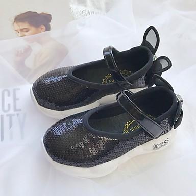 baratos Sapatos de Criança-Para Meninas Sintéticos Tênis Little Kids (4-7 anos) Conforto Lantejoulas Preto / Rosa claro Verão