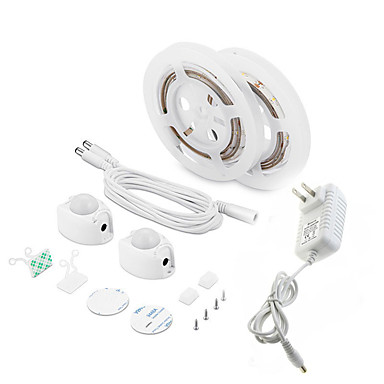 billige LED Strip Lamper-1 sett led stripelys bevegelsesaktivert vanntett ledskap lys pir bevegelsessensor 3m sengelys til hjemmekjøkken (varm hvit)