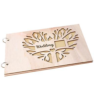 billige Bryllupsseremoni-Gjestebok Træ Kreativ Med Metall Gjestebok