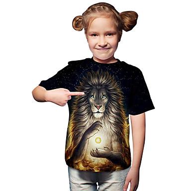 baratos Blusas para Meninas-Infantil Bébé Para Meninas Activo Básico Leão Geométrica Estampado Estampado Manga Curta Camiseta Preto
