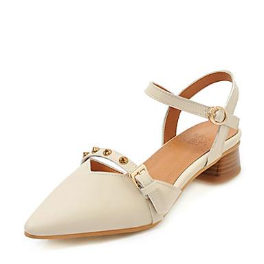 Kadın's Sandaletler Kalın Topuk Sivri Uçlu Perçin / Toka Suni Deri Günlük / Minimalizm Yürüyüş İlkbahar & Kış / İlkbahar yaz Siyah / Badem / Bej