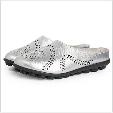 voordelige Damespantoffels & slippers-Dames Slippers & Flip-Flops Platte hak Ronde Teen Leer Zomer Zwart / Wijn / Lichtblauw