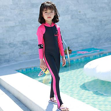baratos Roupas de Banho para Meninas-Infantil Para Meninas Básico Estampa Colorida Manga Curta Roupa de Banho Preto