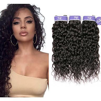 baratos Extensões de Cabelo Natural-3 pacotes Cabelo Malaio Onda de Água Cabelo Natural Remy 100% Remy Hair Weave Bundles Cabelo Humano Ondulado Extensor Cabelo Bundle 8-28 polegada Natural Côr Natural Tramas de cabelo humano Feminino