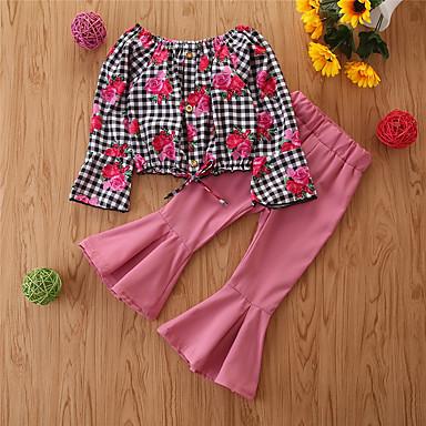hesapli Kız Çocuk Kıyafet Setleri-Çocuklar Genç Kız Temel Günlük Siyah & Kırmızı Kareli Uzun Kollu Normal Normal Kıyafet Seti YAKUT