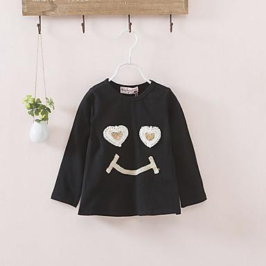 hesapli Kız Çocuk Üstleri-Çocuklar Toddler Genç Kız Boho Punk ve Gotik Kareli Fırfırlı Nakış Uzun Kollu Bluz Siyah