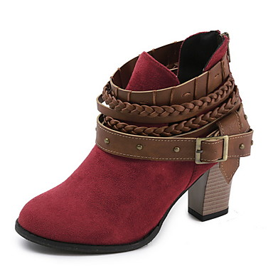 povoljno Ženske čizme-Žene Čizme Kockasta potpetica Okrugli Toe Kopča PU Čizme gležnjače / do gležnja Proljeće & Jesen Crn / Crvena / Sive boje