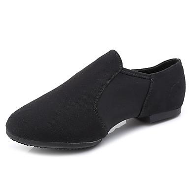 نسائي أحذية الرقص كانفا أحذية جاز مسطح كعب مسطخ أسود