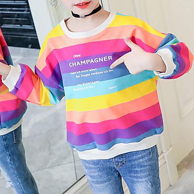 baratos Moletons Para Meninas-Bébé Para Meninas Básico Moda de Rua Listrado Arco-Íris Estampado Manga Longa Moleton & Blusa de Frio Arco-íris