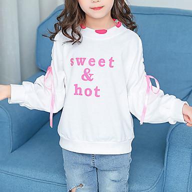 baratos Moletons Para Meninas-Infantil Bébé Para Meninas Básico Moda de Rua Estampado Cordões Estampado Curto Algodão Moleton & Blusa de Frio Branco