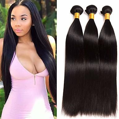 povoljno Perike i ekstenzije-3 paketa Brazilska kosa Ravan kroj Ljudska kosa Ekstenzije od ljudske kose 8-28 inch Prirodna boja Isprepliće ljudske kose proširenje Najbolja kvaliteta Proširenja ljudske kose / 8A