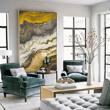Недорогие Картины в рамах-Масляная картина в раме - Натюрморт Акрил Масляные картины Предметы искусства