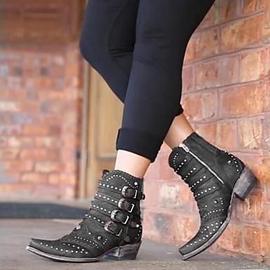 voordelige Dameslaarzen-Dames Laarzen Blokhak Gepuntte Teen Siernagel PU Kuitlaarzen Herfst winter Zwart / Rood
