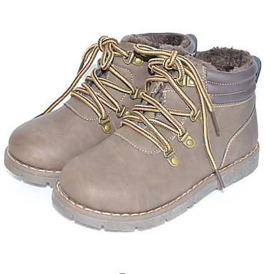 baratos Sapatos de Criança-Para Meninas Couro Ecológico Botas Little Kids (4-7 anos) Primeiros Passos Café Inverno / Botas Cano Médio