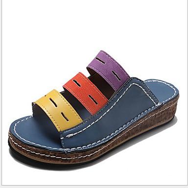 voordelige Damespantoffels & slippers-Dames Slippers & Flip-Flops Platte hak Ronde Teen PU Zomer Bruin / Wit / Blauw