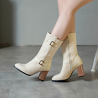 voordelige Dameslaarzen-Dames Laarzen Blokhak Gepuntte Teen Gesp Suède Kuitlaarzen Informeel / minimalisme Lente & Herfst / Herfst winter Zwart / Geel / Rood