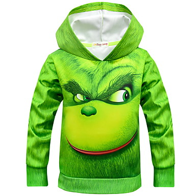 cheap Boys' Hoodies & Sweatshirts-Kids Boys' Street chic Print Long Sleeve Cotton Hoodie & Sweatshirt Green