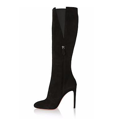 voordelige Dameslaarzen-Dames Laarzen Naaldhak Gepuntte Teen Suède Over de knie laarzen Brits / minimalisme Winter Zwart