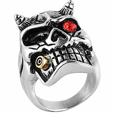 voordelige Herensieraden-Heren Ring 1pc Rood Strass Legering Onregelmatig Vintage Etnisch Modieus Dagelijks Sieraden Vintagestijl Schedel