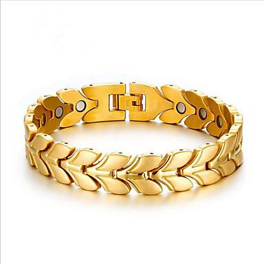 voordelige Herensieraden-Heren Armbanden met ketting en sluiting Klassiek Botanisch Stijlvol Titanium Staal Armband sieraden Goud / Zilver Voor Dagelijks