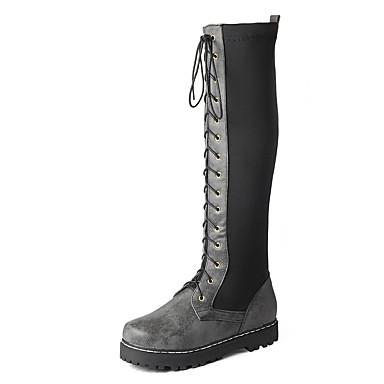 voordelige Dameslaarzen-Dames Laarzen Creepers Ronde Teen PU Herfst winter Zwart / Bruin / Geel