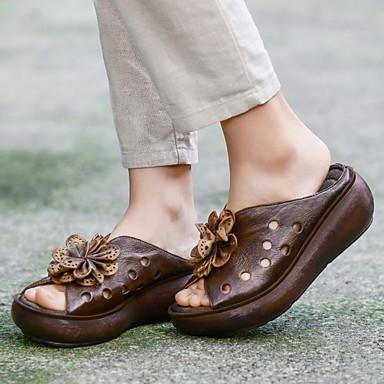 voordelige Damespantoffels & slippers-Dames Slippers & Flip-Flops Platte hak Ronde Teen Leer Zomer Koffie