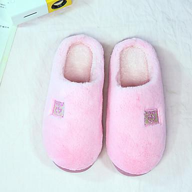 voordelige Damespantoffels & slippers-Dames Slippers & Flip-Flops Creepers Ronde Teen Katoen Informeel Winter Licht Groen / Rood / Roze