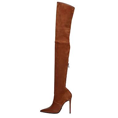 voordelige Dameslaarzen-Dames Laarzen Naaldhak Gepuntte Teen Suède / Imitatieleer Dij-hoge laarzen Brits / minimalisme Lente & Herfst / Winter Zwart / Donker Bruin