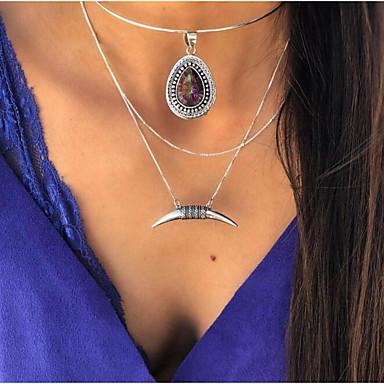 billige Mote Halskjede-Dame lagdelte Hals Klassisk Halvmåne Chrome Sølv 46 cm Halskjeder Smykker 1pc Til Daglig