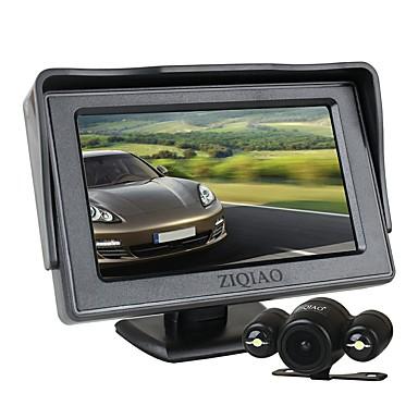 voordelige Automatisch Electronica-ziqiao 4,3 inch tft lcd-scherm auto monitor extra parkeerplaatsen 2 led-verlichting nachtzicht achteruitrijcamera kit