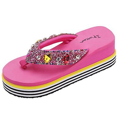 voordelige Damespantoffels & slippers-Dames Slippers & Flip-Flops Platte hak Ronde Teen PU Zomer Zwart / Wit / Fuchsia